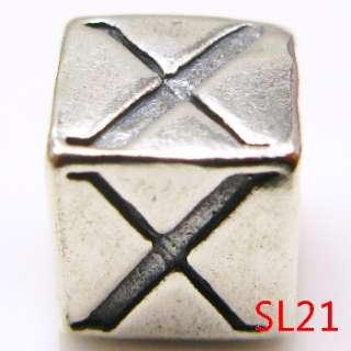 925 Sterling Silver Initial Letter European Charm Beads Fit Bracelet