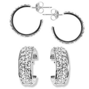 Ashley Arthur .925 Silver Solid White Crystal 17mm Hoop Earring. Made