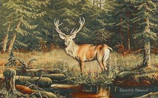 TAPESTRY Deer in the Forest EUROPEAN WILD LIFE ANIMAL DECOR PICTURE