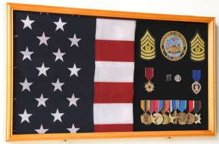 Large Flag and Military Medals Display Case Cabinet