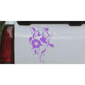 Purple 12in X 8.1in    Swirl Vine Flower Hummingbird Animals