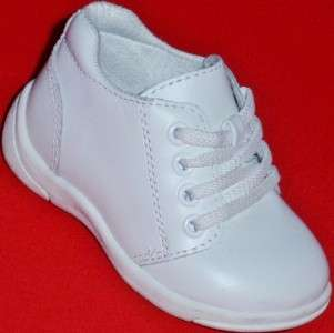 Infants/Toddlers Baby TKS White Leather Sneakers Shoe 3 WIDTHS