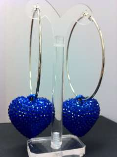 Basketball Wives Poparazzi inspired Crystal Heart Pendant Hoop