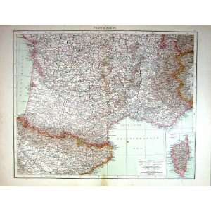 Antique Map South France Corsica Pyrenees Marseilles Bay