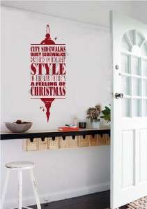 Theres A Feeling of Christmas Vinyl Decal Wall Words Stickers Letter