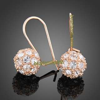 18K gold Gp Swarovski Crystal ball jewelry set 828