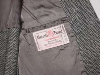 Vintage Black White Tweed Wool Blazer Sport Jacket Coat Mens 44 R