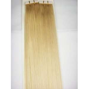 Tape in Skin Weft Seamless 100% Human Hair Extensions #24 Light Blonde