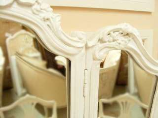 Shabby Cottage Chic White French Tri Fold Desk Mirror