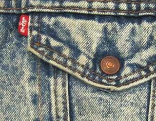 vtg Levis SHERPA LINED 80s Distressed Light BLUE DENIM Jacket L usa