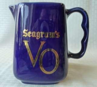 SEAGRAMS V O Whiskey Pitcher Cobalt Blue 20 oz EUC