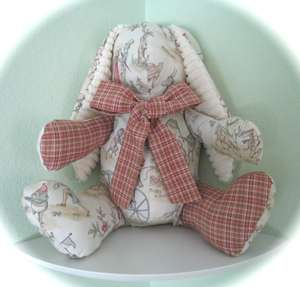TOPSY TURVY TOILE STUFFED TOY BUNNY NURSERY DECOR