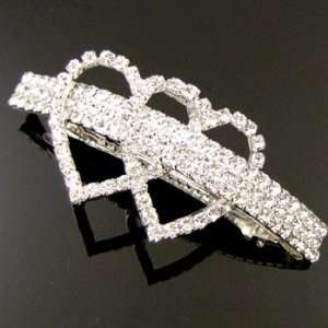 Wedding Bridal Prom Silver Plated Crystal Rhinestone Hair Barrette