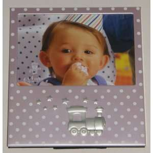 Pink and White Polka Dot Train Aluminum Baby Picture Photo Frame Baby