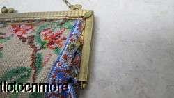 ANTIQUE ART NOUVEAU FRENCH GLASS BEADED GOLDEN PHEASANT BIRD PURSE BAG