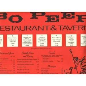 Bo Peep Restaurant & Tavern Breakfast Menu Placemat