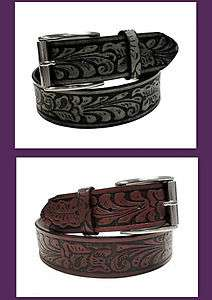 Western Men Leather Belt Tooled Leaf Design Tumbling Buckle Wholesale