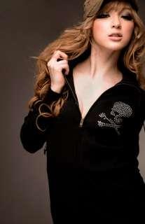 Japan skeleton cute lady long sleeve hoodie top outwear w/ zip