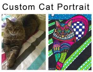 Cat Portrait Original Painting Abstract Oil Paintings Modern Folk Art