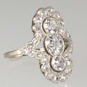 Art Deco 2ct diamond ring plat 18ct white gold old European & rose cut