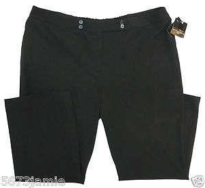 Plus Petite Women True Black Career Dress Pants Slacks Apostrophe MSRP