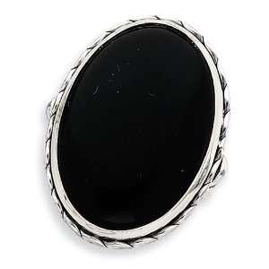 Antiqued Oval Black Onyx Ring   Size 9 West Coast Jewelry Jewelry
