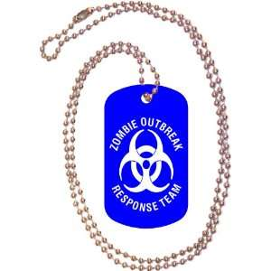 Zombie Outbreak Response Team Blue Dog Tag with Neck Chain