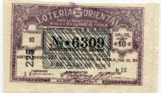 BS06 original Lottery Ticket from Puebla Mexico, 1928