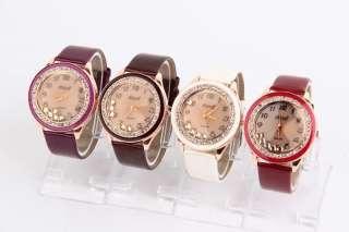 Crystal Frame Ladies Watch Quartz Leather WristWatch Hours