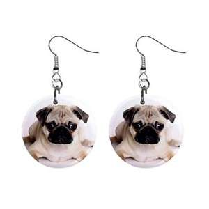 Cute Pug Dog Puppy 1 Dangle Metal Earrings Jewelry New