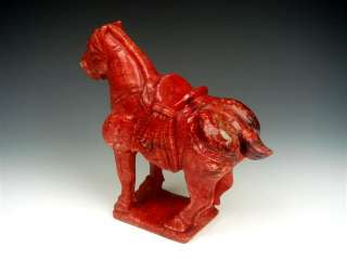 Blood Jade TANG Dynasty Style Standing War Horse