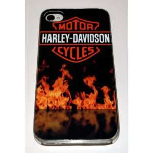 Clear Hard Plastic Case Custom Designed Flaming Harley Davidson Emblem