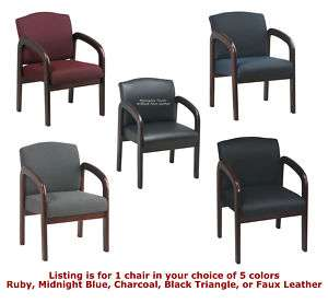 Finish Wood Frame Medical Visitor Guest Waiting Room Office Chair