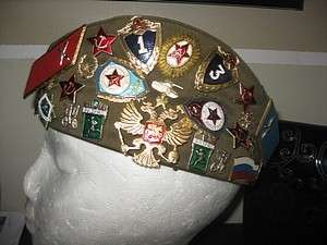 RUSSIAN SOVIET MILITARY ARMY PILOTKA HAT DECORATED WITH 25 PINS 3