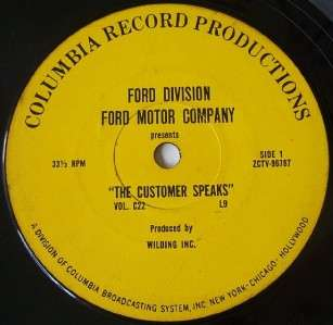Vintage FORD MOTOR COMPANY SALES AID RECORD Columbia