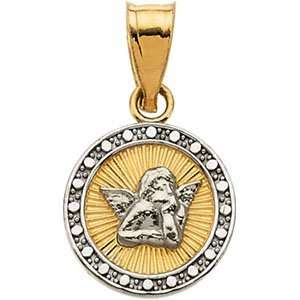 14K Yellow/White Gold 10.50 Mm Two Tone Angel Pendant Jewelry