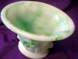 Akro Agate Green & White Swirl Glass Vase / Iris Pattern
