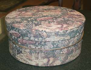 Vintage Mauve, Pink, Blue & Beige Tapestry Covered Hat Box w/ Satin