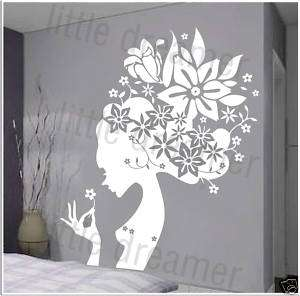 Vinyl Wall decal stickers flower decor fairy white,red