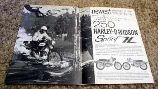 1962 Harley Davidson 250 Sprint H Motorcycle Original Ad