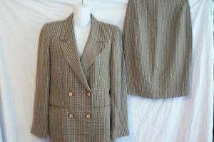 LN Fendi tan & black check Jacket & skirt suit 42 8/10
