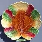 Antique Majolica Pottery Leaf Plate c.1900 1939 Czech