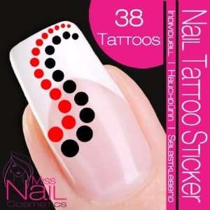 Nail Art Tattoo Sticker Circle / Dots   red / black