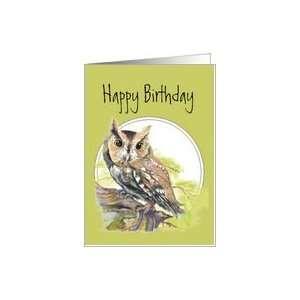 Happy Birthday, Screech Owl, Bird, Wildlife, Nature Card