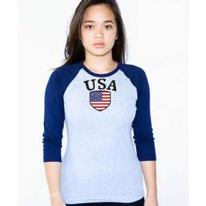 USA Soccer T shirt Flag American Apparel Raglan Girl