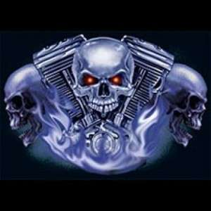 Skull And Engine V TWIN T Shirt MOTORCYCLE BIKER BLACK OR GRAY