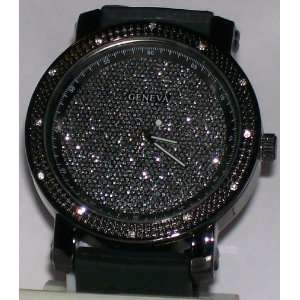 Black Gold Plated Icey Face Hip Hop Streetwear Watch