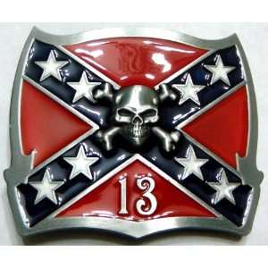 Lucky 13 Confederate Flag Skull & Bones Belt Buckle (Brand New)