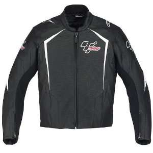 Mens Leather Street Bike Racing Motorcycle Jacket   Black / Size 48