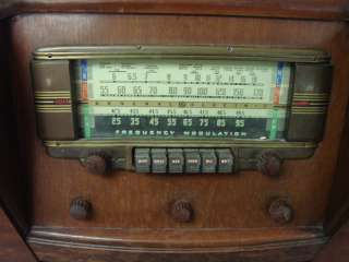 Antique Vtg GE Model LF 116 Console Radio Art Deco AM/SW/FM 1942 Push